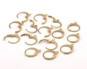 Brass Earring Clasp, 50 Raw Brass Leverback Earring Clasps  (12x14mm) (bs1100)--A0897