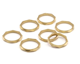 15mm Brass Rings -12 Raw Brass Faceted Rings, Connector (15mm) N498