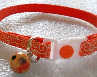 Orange Ribbon with White Swirls Cat Collar, Kitten Collar, Breakaway Collar - girl cat, boy cat, Holidays