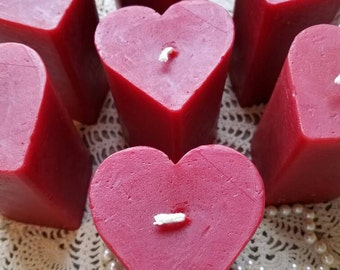 Hand Sculpted Pure Beeswax Heart Shaped Pillar Candle in RED