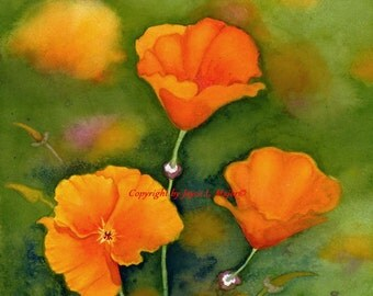 Poppy Joy- watercolor giclee print