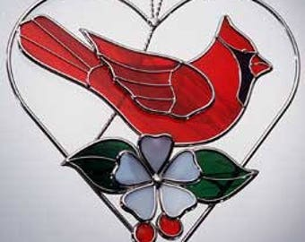 Stained glass 3D Cardinal Heart Ring Sun Catcher Wall Hanging