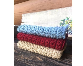 100% Cotton Washcloths - Set of Three