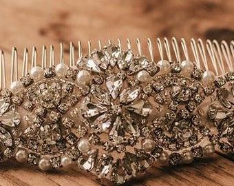 Bridal Hair Accessory, Bridal Headpiece, Wedding comb, Bridal comb, Rhinestone Hairpiece