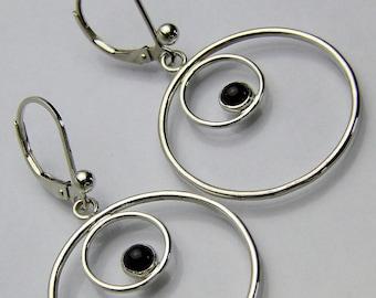 Garnet and Silver Leverback Earrings