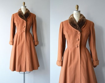 Landsk wool coat | vintage 1950s coat | wool and fur collar 50s princess coat