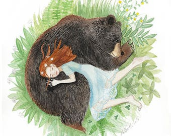 Red Head Girl and Black Bear, Sleeping Friends, Giclee art print, watercolor illustration, animal napping, 5x7