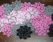 """lot of 16psc Hand Crochet 6"""" Doilies Pink Blck Gray,Coasters 4psc in each color"""