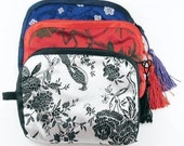 """Lined Satin Jewelry Zipper Purse Bags with Tassel 5 1/2"""" x 4 1/2"""" (Set of 3)"""