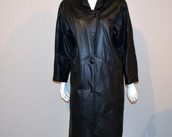 Vintage Black Leather Coat Hipster
