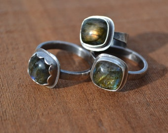 Labradorite Ring Sterling Silver Square Made to Order