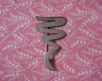 Vintage 925 Sterling Squiggle Shaped Brooch pin 7 grams