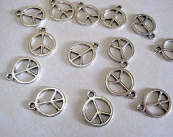 Tibetan Silver Peace Sign Charm - Set of 10 - 15x12mm