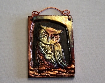 Owl  Raku mini tile ACEO