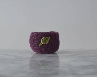 Wool Bowl - Felted Wool Bowl in Dark Purple with Sage Leaf - Air Plant Planter - Tillandsia Home - Gifts for Gardeners