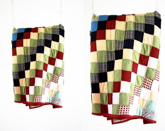 Vintage Patchwork Quilted Comforter Blanket Bedding Throw