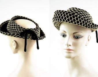Vintage Black and Gold Pierce Chicago New York Formal Retro Woman's Hat