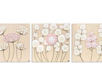Three Paintings of Sculpted Flowers on Canvas - Pink and Brown Original Art - Medium 32x10