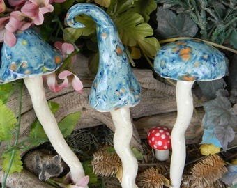 Ceramic Mushroom Stakes 3   Toadstool Statues  Home Grown Ceramic  Shrooms Blue Crystal     muscaria fly Hand Sculpt OOAK