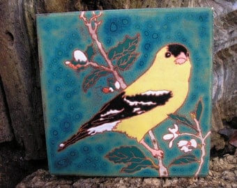 Goldfinch  bird tile -CUSTOM ORDER - 4-6 wks production time-perfect for birders, kitchen,bath,fireplace surround