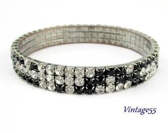 Bracelet Rhinestone Black Clear Stretch