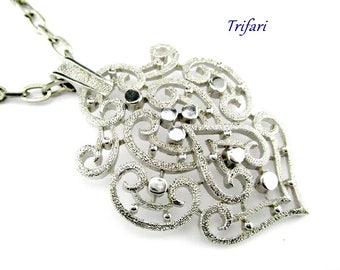 Necklace Crown Trifari Scroll Pendant