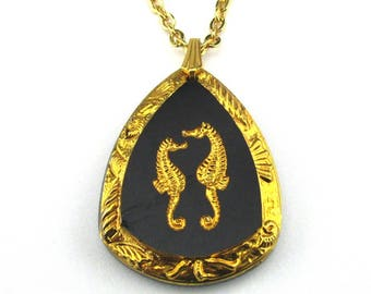 Necklace Seahorse Intaglio Glass Pendant Germany