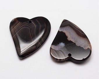 Black Agate Heart Pendant - Natural Striped Agate Gemstone - 42mm x 45mm - Sold Individually