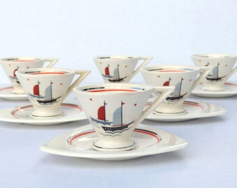 Pair of Demitasse Cups Saucers, Salem Streamline & Tricorne: Rare Atomic Art Deco Margaret Blumenthal 'Sailing Ships' Design, Nautical Glam