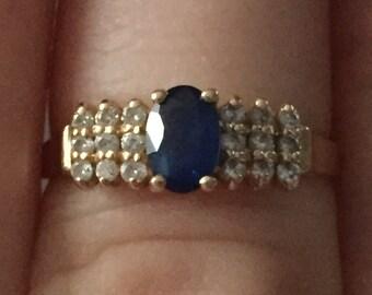 EFFY 14k Sapphire Diamond Ring 7.5