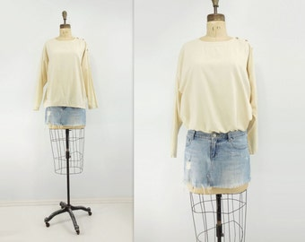 White Cotton Blouse Vintage Oversize Tee Long Sleeve Top 80s Off White Top Crew Neck Blouse Natural White Blouse 80s Vintage T Shirt m, l