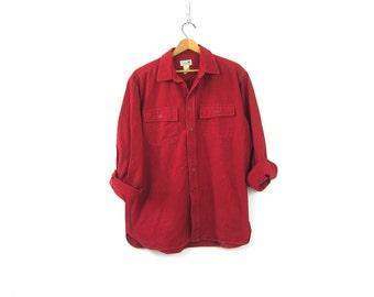 Rugged Flannel Shirt Red Camping Shirt Vintage Boyfriend Button Down tomboy Collar Pocket shirt Men's Size Large