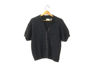 Sleeveless Black Sweater Button Up Front Minimal Knit Pocket Sweater Vintage 80s Cotton Ramie Sweater Top Womens Medium Large