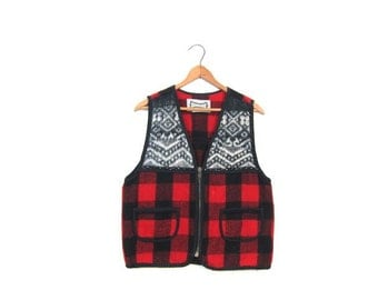 90s Red Black Wool Vest Sleeveless Fall Layer Jacket Plaid Lumberjack Outdoor Hunting Coat Zip Up Grunge Hipster Vintage Womens Small