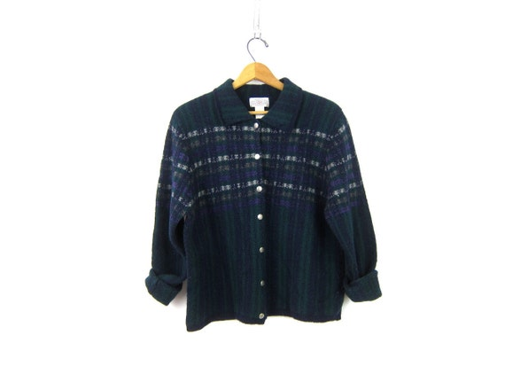 Vintage wool cardigan sweater Navy blue and Green button Down Preppy 1990s Ski sweater collared Women's Size Large
