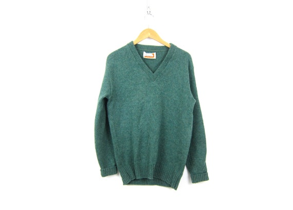 Green Wool Sweater 70s Puritan Thermax Sweater Preppy Boyfriend Pullover VNeck Casual Sweater Minimal Prep Sweater Mens Large