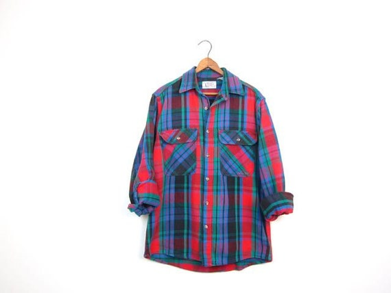 80s Plaid Flannel Shirt Autumnal Oversized Heavy Cotton Spring Fall Shirt Flannel Workwear Rugged Mens Shirt Medium Small