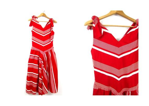 Red Dress 1980s Party Dress Vintage Bold Stripes Sleeveless Sun Dress White Red Striped Sundress Garden Party Tea Dress Size 10 Medium