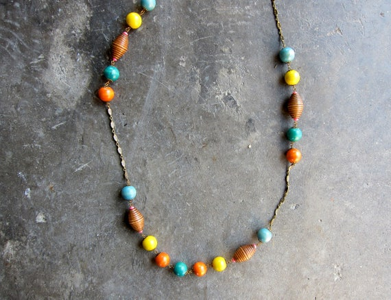 Long Beaded Necklace Statement Piece Necklace Painted Wood Necklace Vintage Tribal Jewelry Boho Resort Necklace Ethnic Jewelry