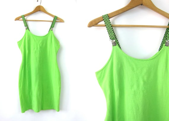 Neon Green Suspender Dress Stretchy Body Con Tight Mini Dress Vintage 1980s Hipster Dress Street Wear Skater Punk Bandage Medium