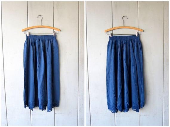 Indigo Blue Rayon Skirt Cutwork Bali Skirt 90s Floral Embroidered Midi Skirt POCKETS Hippie Boho Skirt DES Vintage Womens Small Medium