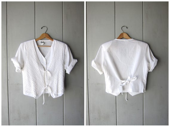 Natural White Cotton Blouse with Vest Cropped Minimal Button Up Blouse Short Sleeve Shirt 80s Modern Basic Casual Top Vintage Womens Medium