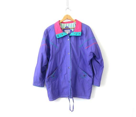 vintage oversized Purple & Pink Spring jacket Baggy Parka coat 1980s Hipster Long Summer Color Block Jacket Women's Size Large