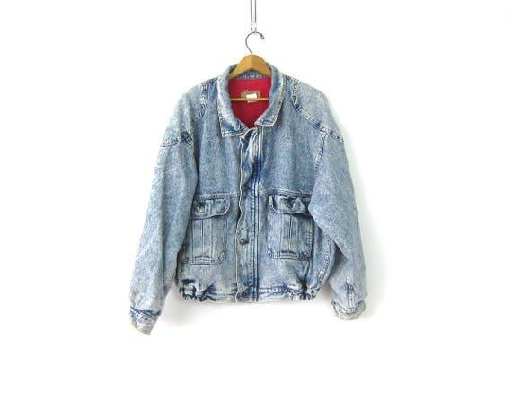 1980s LEVIS Jean Jacket Acid Wash Bleached Denim Jacket Coat Jean Jacket Hipster GS Punk Urban Trucker Jacket Men's Size XL