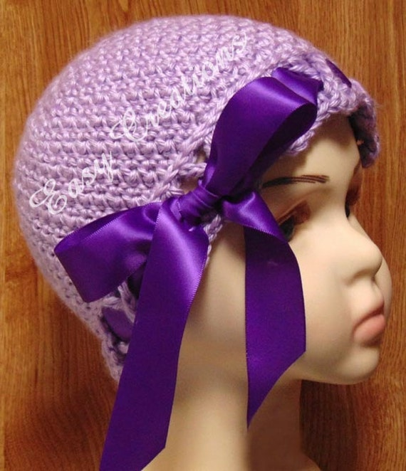 CROCHET PATTERN Crisscross Beanie hat girl girls baby babies toque cloche ribbon 0 to 12mo skill level intermediate