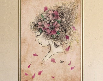 Limited Edition Print - Poster - Digigraphy - portrait - flower crown - Lola 1/30