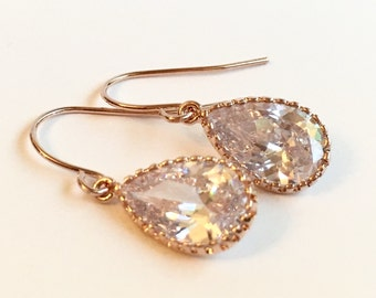 Cubic Zirconia Rose Gold Drop Earring