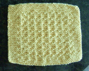 Hand Knit Yellow Dishcloth or Washcloth - measures approximately 71/2x9 inches