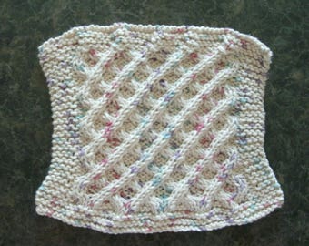Hand Knit Dishcloth or Washcloth - color is Aran - measures approximately 71/2x8 inches