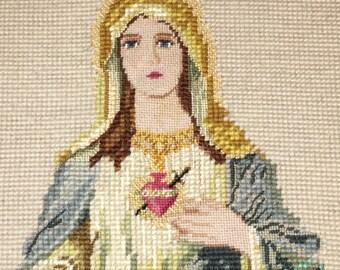 Vtg needlepoint bleeding heart virgin Mary picture wall hanging
